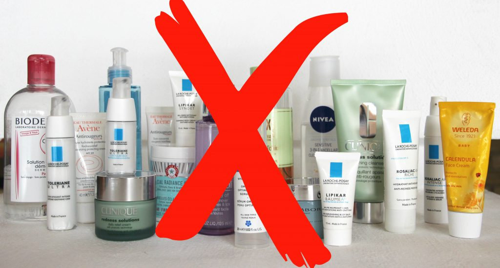 Discontinue use of all cosmetics and skincare products