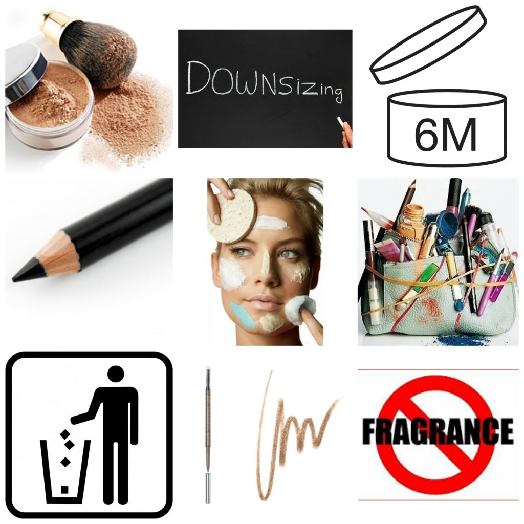 Use powders, downsize your makeup and skincare products, choose fragrance free products, notice period after opening symbol, bin old products